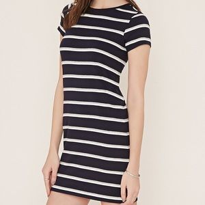 Striped navy blue and white t shirt dress